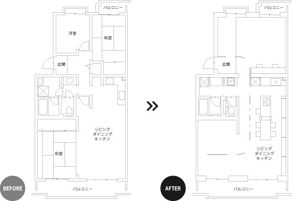 【リノベ暮らしな人々vol.29】間取り図ビフォーアフター